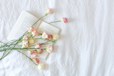 bed with book and flowers