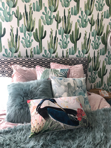 bedroom decor with cactus wallpaper