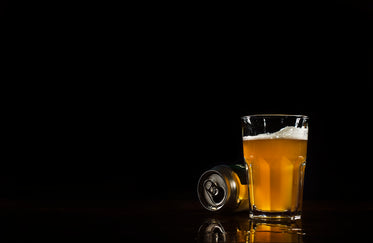 beer can and glass with spill reflection