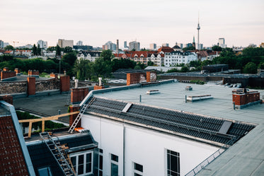 berlin city rooftops on overcast day