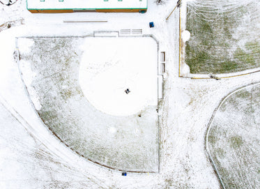 bird's eye view of snow-covered fields