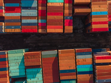 birds eye view of rows of shipping containers