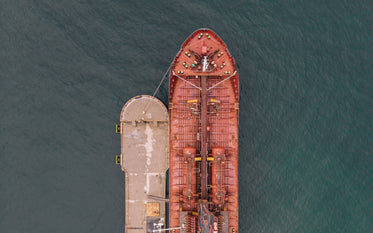 birdseye view of the front of a docked ship
