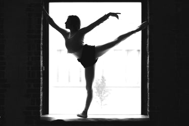 black and white ballet in window