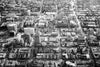 black and white city aerial