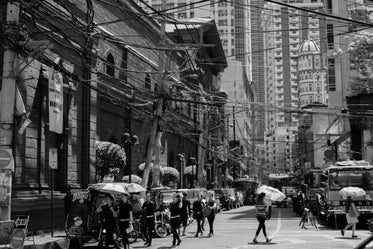 black and white city street