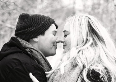 black and white image of an eskimo kiss