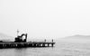 black and white photo of a dock on calm water