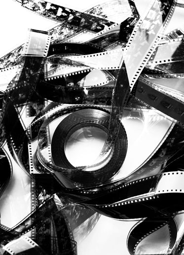 black and white photo of a tangled movie reel