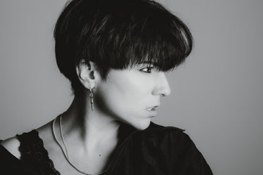 black and white photo of a woman profile