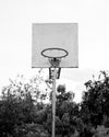 black and white photo of an outdoor basketball net