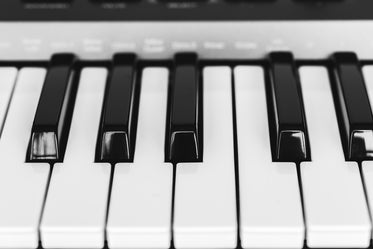 black and white piano keys close up