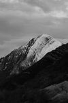 black and white snow capped mountains