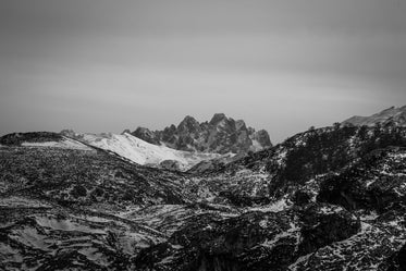black and white snowy capped mountains
