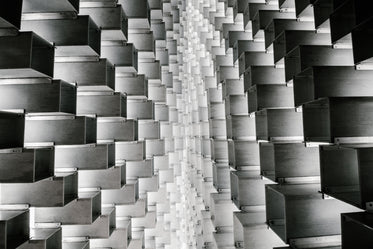 black and white view of abstract structure