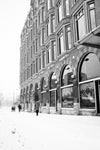black and white winter downtown