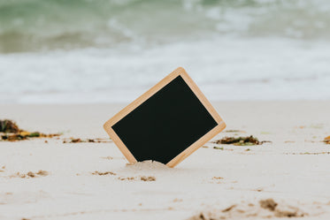 black chalkboard sticking out of a white sandy beach