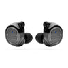 black wireless bluetooth earbuds on white background