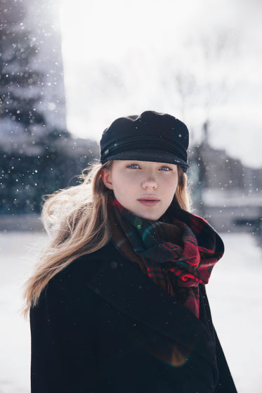blond woman in the snow