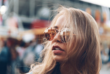 blonde hair sunglasses