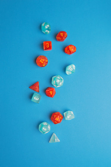 blue and red dice