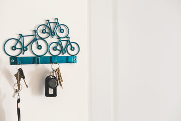 blue bike shaped key hook