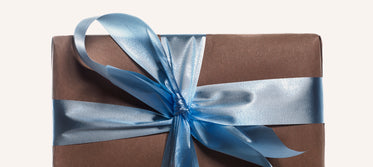 blue ribbon on gift