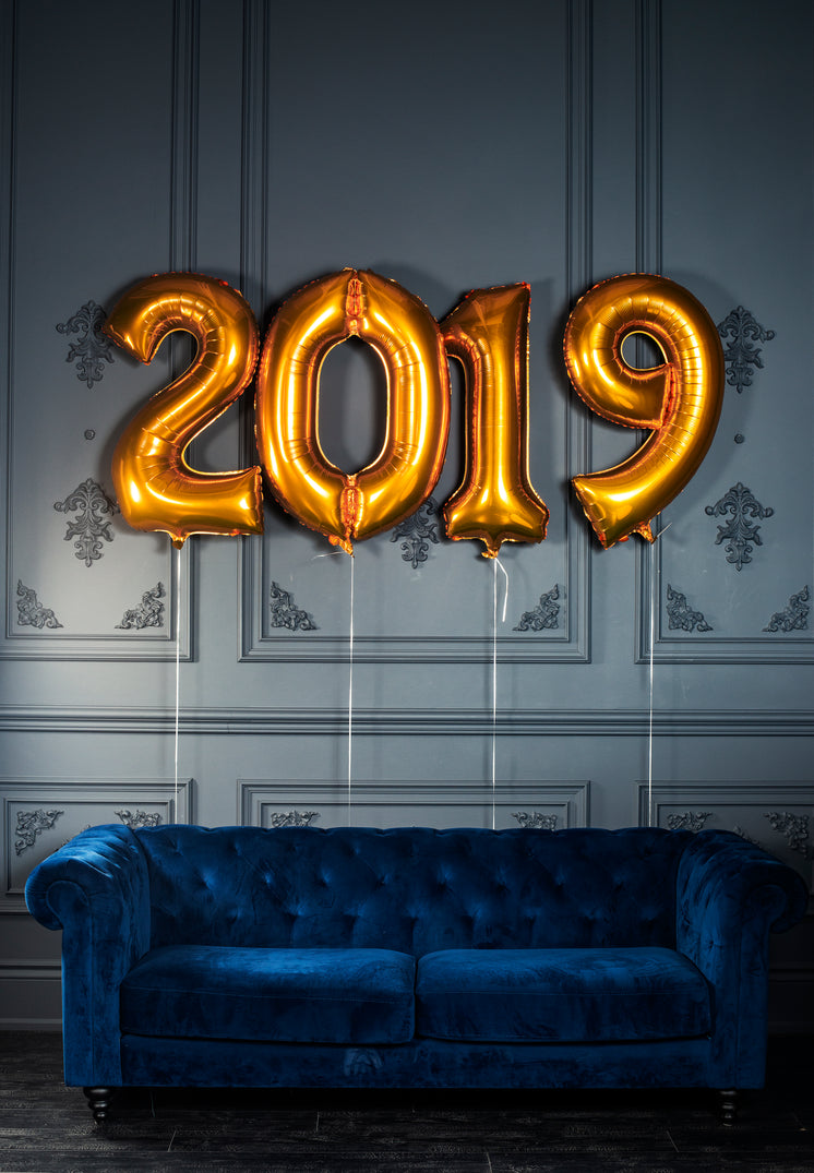 Blue Velvet Couch With Helium 2019 Balloons