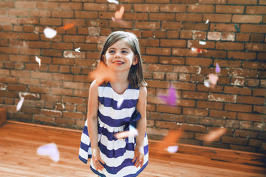 Free Stock Photo of Blue & White Striped Dress On Girl — HD Images