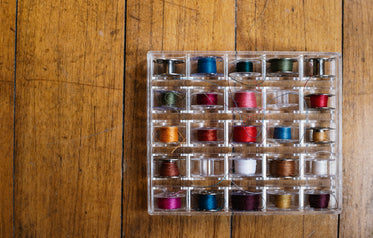 box of colorful thread