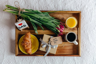 breakfast gift and flowers for dad