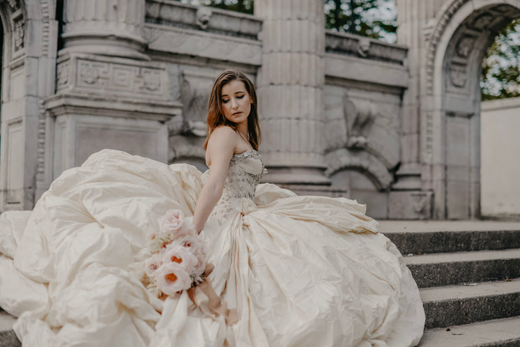 Bride In Flowing Gown Climbs Steps