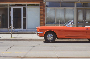 bright classic convertible parked