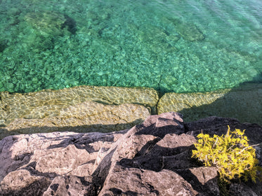 bright clear water by rocky shore