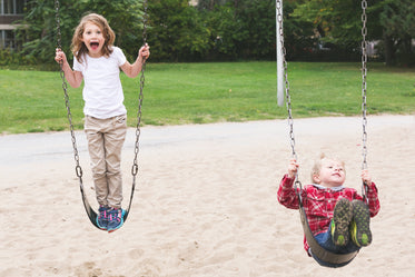 Free Stock Photo of Brother & Sister On Swings — HD Images