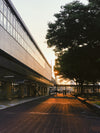 bus terminal in early morning light