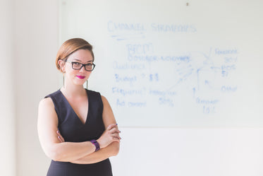 businesswoman in office smiles