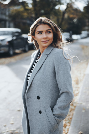 business woman walking in autumn