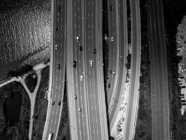 busy highway aerial