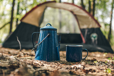 camping kettle and coffee cup