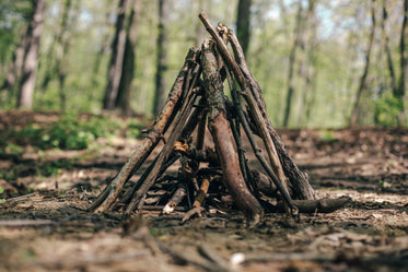 camping kindling ready to be lit
