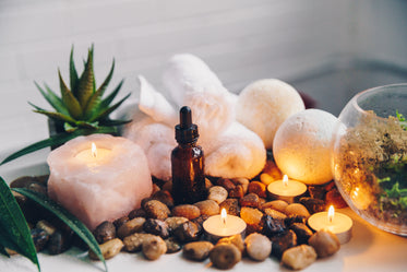 candles glow with spa decor