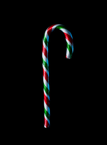 candy cane on black