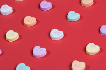 candy hearts with writing