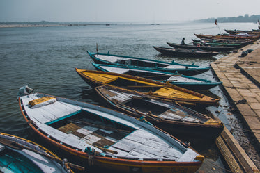 canoes docked by the shore