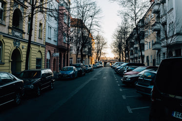 cars packed on narrow european streets