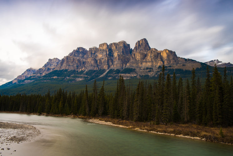 Castle Mountain Towering Over Lush Alberta Forest