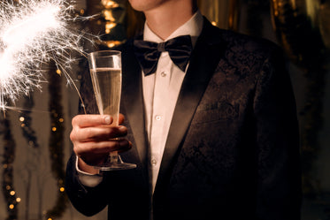 champagne bowt ties and sparklers