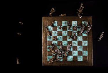 chess board with fallen pieces