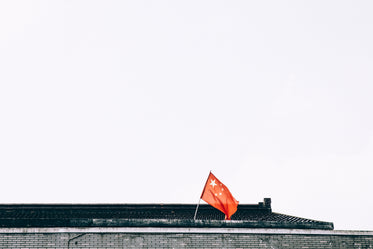 chinese flag on temple rooftop